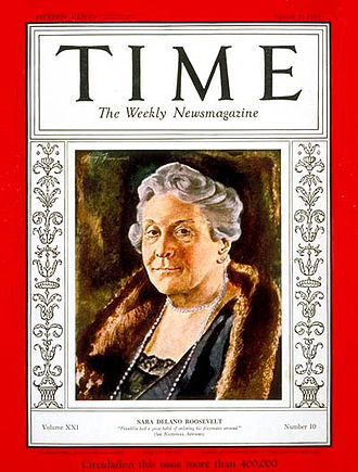 Sara Roosevelt - Sara Delano Roosevelt on the cover of Time (March 6, 1933)