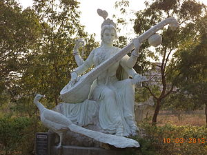 Davanagere - Statue of Saraswati at Fine Arts college, Davanagere.
