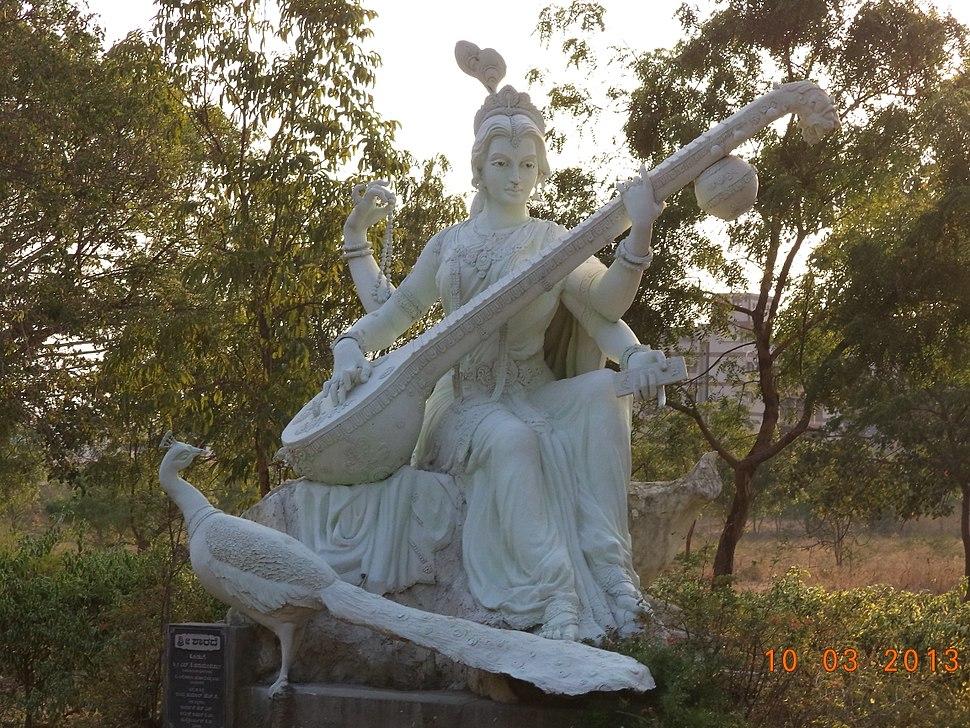 Statue of Saraswati at Fine Arts college, Davanagere.