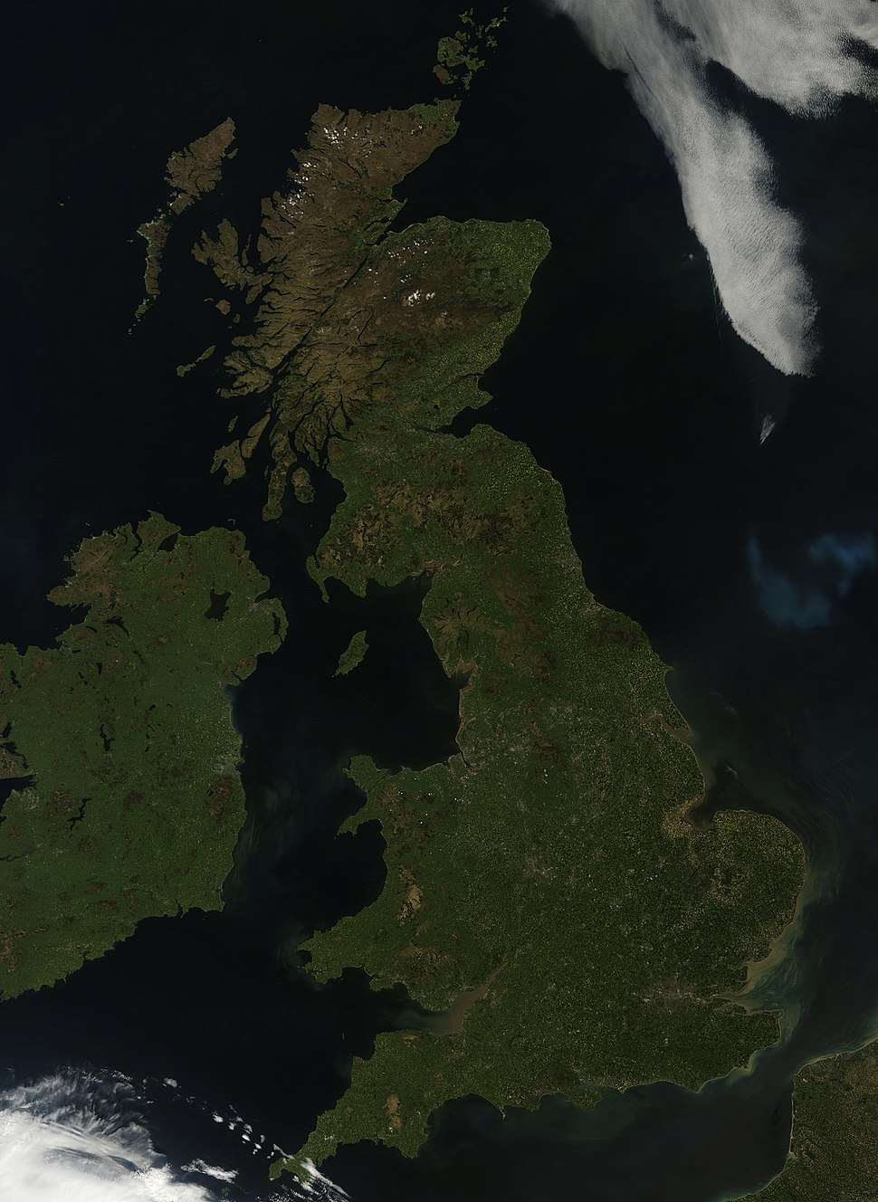 Satellite image of the United Kingdom