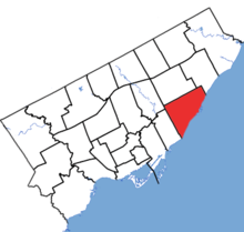 Scarborough Southwest in relation to the other Toronto ridings (2015 boundaries).png