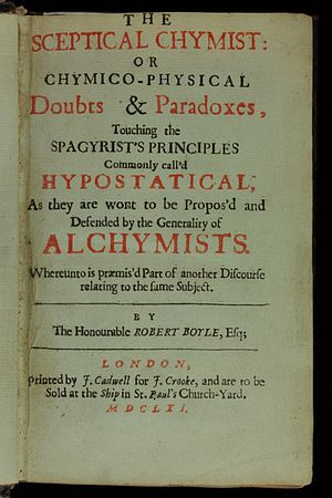 Title page from The Sceptical Chymist, a foundational text of chemistry, written by Robert Boyle in 1661 Sceptical chymist 1661 Boyle Title page AQ18 (3).jpg