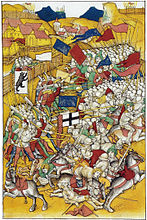 Depiction of the battle of Vögelinsegg in the Spiezer Chronicle 1465
