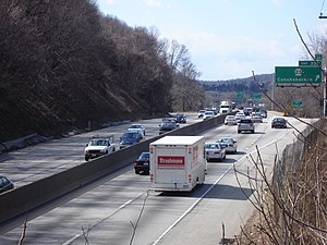 Schuylkill Expressway - The Schuylkill Expressway near Conshohocken, close to the interchange with I-476