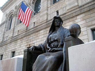 "Criticism of science - Personification of ""Science"" in front of the Boston Public Library"