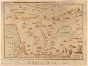 "Madeleine de Scudéry - The Carte de Tendre was ""conceived as a social game during the Winter of 1653–1654"" by Madelaine de Scudery, and a printed copy was ""later incorporated into the first volume of her coded novel, Clelie."" (Reitinger 1999, 109)."