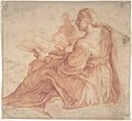 Seated Sibyl and Attendant Genius (recto); Study of the Head of a Horse in Profile (verso) MET DP810254.jpg