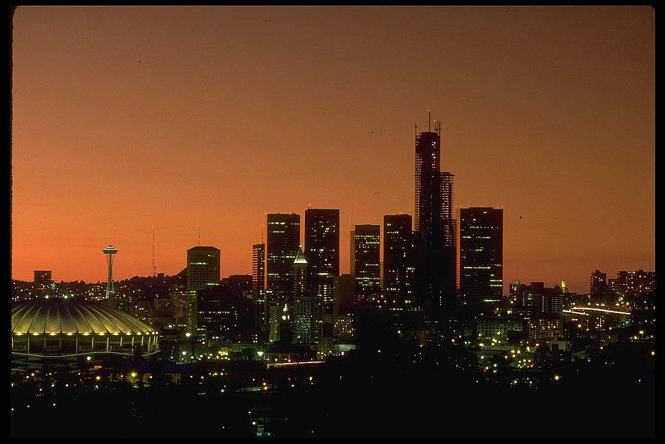 Seattle skyline at sunset, circa 1983