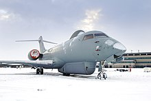 A Raytheon Sentinel R1 of No.5 (AC) Squadron at RAF Waddington after a heavy snowfall during November 2010.