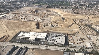 Los Angeles Stadium at Hollywood Park - September 2017 aerial view of the construction site