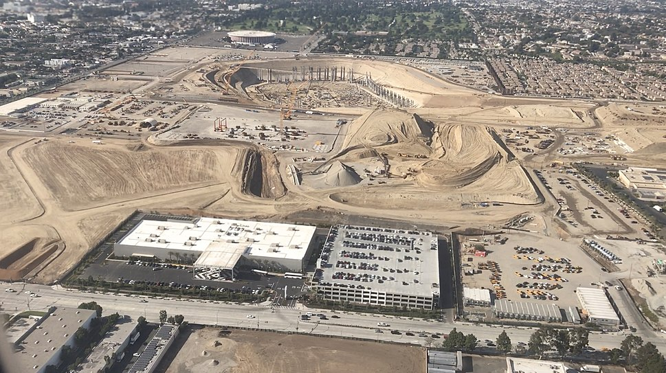 September 2017 aerial view of the construction site of the Los Angeles Stadium at Hollywood Park