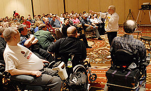 Fan convention - Harlan Ellison speaking at Minicon 41, April 13, 2006.