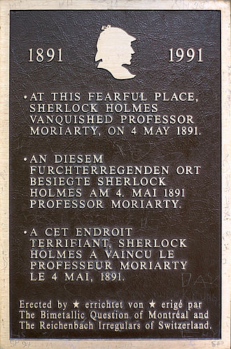 Reichenbach Falls - Image: Sherlock Holmes plaque