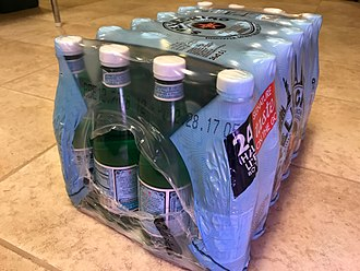 Shrink wrap - Shrink wrapped pack of bottles with ends (bulls eyes) as handles