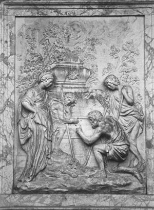 Et in Arcadia ego - The Shugborough relief, adapted from an engraving of Poussin's second version.