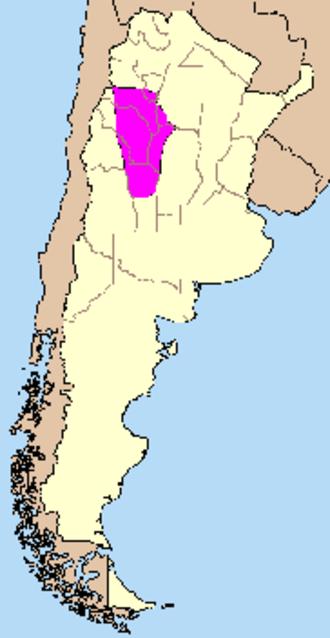Sierras Pampeanas - Location of the region