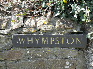 Whympston - Sign at entrance to Whympston Farm, showing the modern spelling