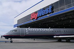 CRJ-7000 exiting SkyWest hangar