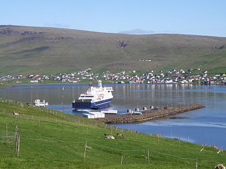 MS Smyril leaving Krambatangi ferryport on 19 June 2010. Smyril the Faroese Ferry leaving Krambatangi Ferry Port on Suduroy.JPG