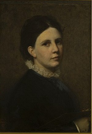 Sofie Ribbing - Self-portrait in the Uffizi, 1880