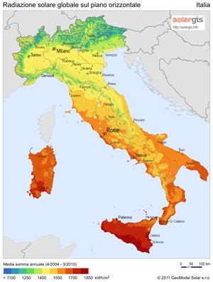 Radiazione solare sul piano orizzontale in Italia