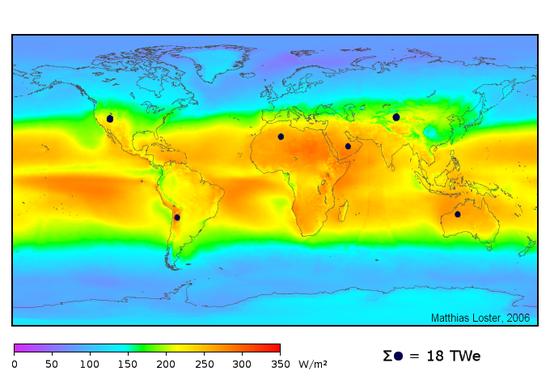 Weltweite Verteilung der Sonnenenergie