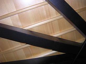 This view of the underside of a 182 cm (6-foot) grand piano shows, in order of distance from viewer: softwood braces, tapered soundboard ribs, soundboard. The metal rod at lower right is a humidity control device. SoundboardBracesRibs.jpg