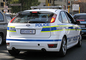 A Police car in Johannesburg, South Africa.