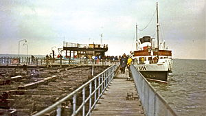 Southend Pier - burnt section in 1983