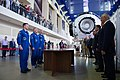 Soyuz MS-13 crew members report to space officials in Star City, Russia.jpg