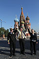 Soyuz TMA-14M crew in front of St. Basil's Cathedral in Moscow.jpg