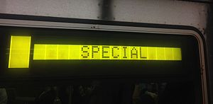 New York City Subway nomenclature - An R46 LCD sign on the BMT Fourth Avenue Line.
