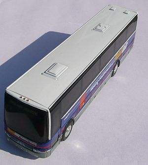 RailAir - A model of a coach on the Woking RailAir service. After deregulation, the service passed to Speedlink