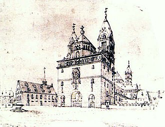 Speyer Cathedral - View showing the original westwork in 1606