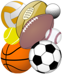 A collection of balls used in various sports