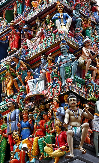 Sacred architecture - Ornate details on the entrance tower of Sri Mariamman Hindu Temple, Singapore.