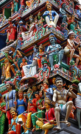 Ornate details on top of Sri Mariamman Temple in Chinatown district, Singapore's oldest Hindu temple since 1827