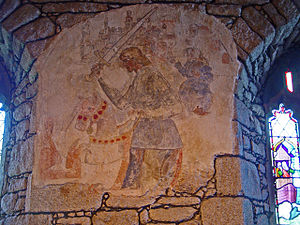 Fresco-secco -  A Fresco-secco wall painting in St Just in Penwith Parish Church, Cornwall, UK. The painting was created in the 15th century and depicts Saint George fighting the dragon.