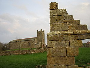 Roxby, North Yorkshire - Image: St Nicholas Church and ruin of Roxby Hall