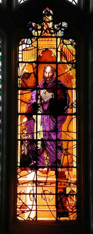 Leeds Minster - Stained glass window depicting St Peter.