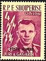 Stamp of Albania - 1962 - Colnect 681892 - Yuri Gagarin and Vostok 1 overprinted in black.jpeg
