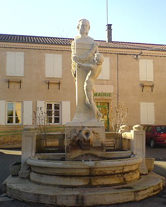 Saint-Julien, Rhône - The bust of Claude Bernard in the central square