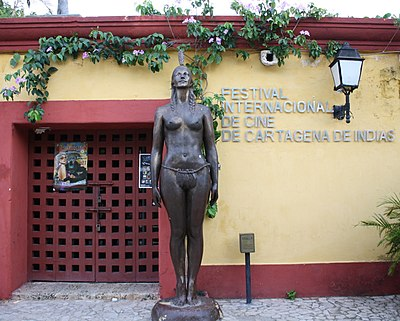 The Cartagena Film Festival is the oldest cinema event in Latin America. The central focus is on films from Ibero-America. Statue India Catalina FICCI.JPG