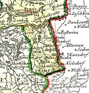 Duchy of Bielsko - Map of the county in 1746
