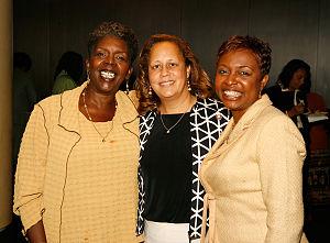Yvette Clarke - Yvette Clarke (right) with fellow congresswomen Stephanie Tubbs Jones of Ohio (left) and Laura Richardson of California (center).