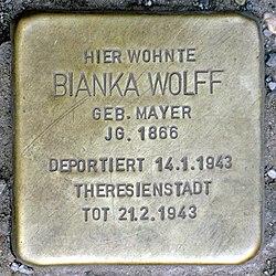 Photo of Bianka Wolff brass plaque