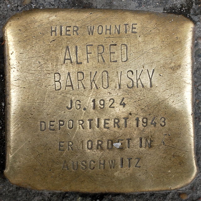 Photo of Alfred Barkowsky brass plaque