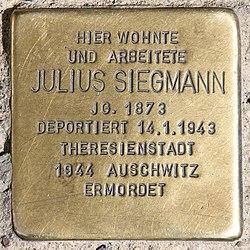 Photo of Julius Siegmann brass plaque