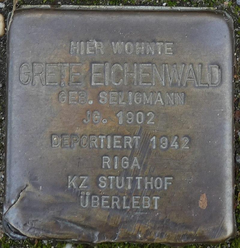 Stolperstein Hauptstrasse 22 legden Grete Eichenwald geb. Seligmann.jpg