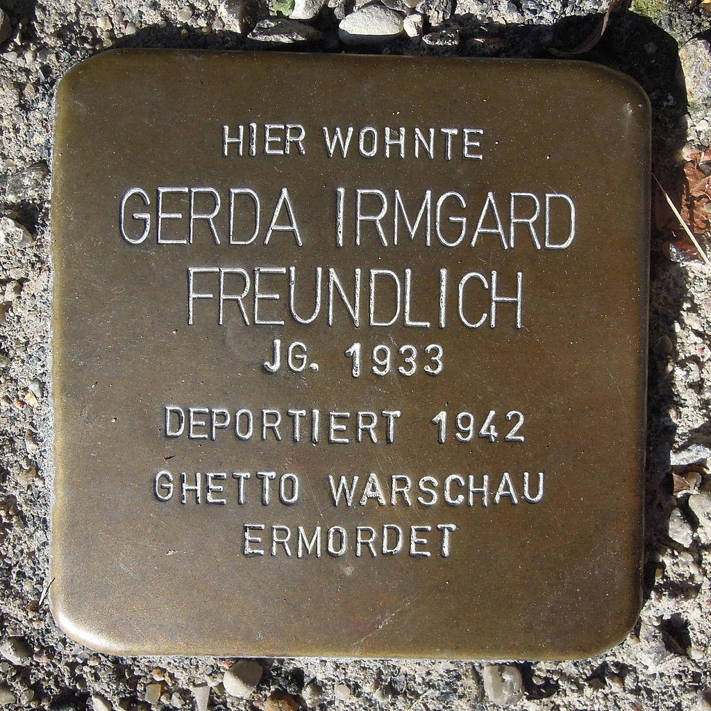 Stolperstein für Gerda Irmgard Freundlich